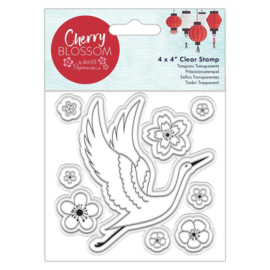 Cherry Blossom 4x4 Inch Clear Stamp Cranes (PMA 907272)