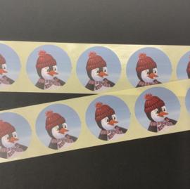 Sluitstickers - 10 stuks - pinguïn met rode muts