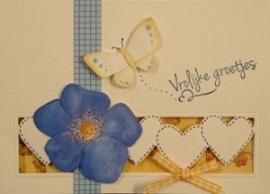 Voorbeeld kaart gele vlinders en bloemen