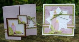 Voorbeeld kaarten paarse kaarsen
