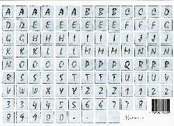 vel: blauw alfabet