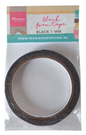 Black foam tape 1mm x 12 mm