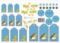 knipvel: blauwe kerstlabels