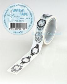 Washi tape Horloge & alarm klok 15 mm x 5 m 61.7071