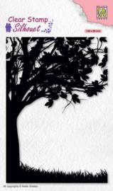 silhouet stempel halve boom