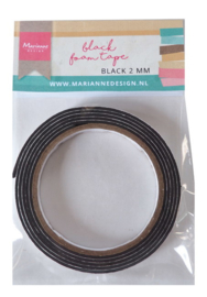 Black foam tape 2mm x 12 mm