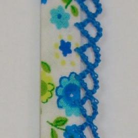 Biaisband blauwe-groene bloemen (27)