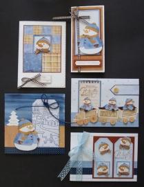 Voorbeeld kaarten sneeuwmannen met trein