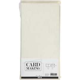 Off-white kaarten + enveloppen: 50 vierkante