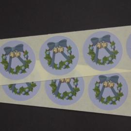 Sluitstickers - 10 stuks - blauwe krans