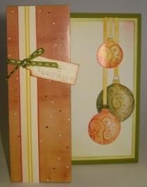 Voorbeeld kaart oranje kerstballen