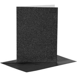 Pakje kaarten + enveloppen zwart glitter