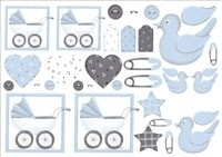 0941 Babyblauwe kinderwagen