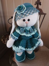 XXL Haakpakket Funny Bunny kledingset blauw-groen