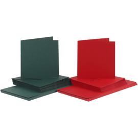 Rode en groene kaarten + enveloppen: 50 vierkante