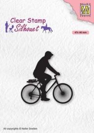 silhouet stempel man op fiets