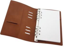 Ringband Planner - voor papier 120x210mm - Cognac bruin PU leather