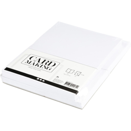 Witte kaarten + enveloppen: 50 rechthoekige