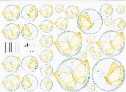 knipvel: cirkel 9: blauwe / gele vlinders