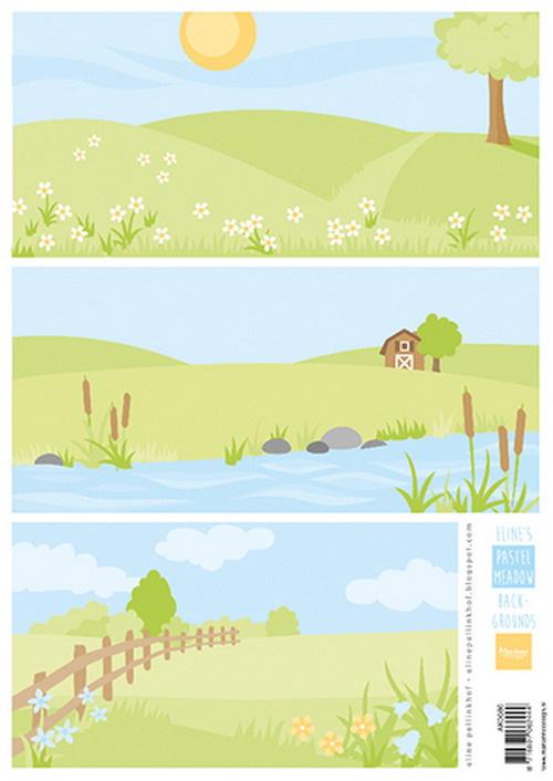 Knipvel Eline's backgrounds pastel meadows AK0086