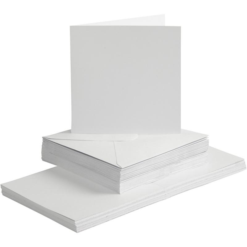 Witte kaarten + enveloppen: 50 vierkante
