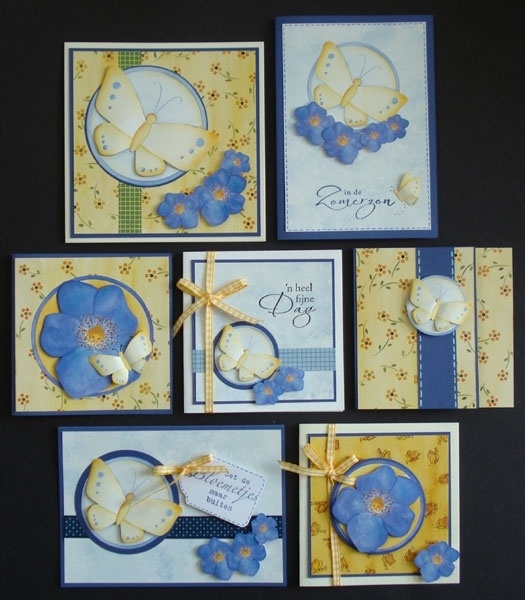 Voorbeeld kaarten gele vlinders en bloemen