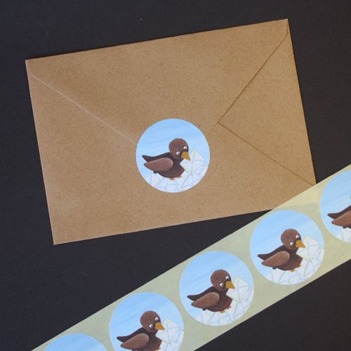 Sluitstickers - 10 stuks - vogeltje met envelop