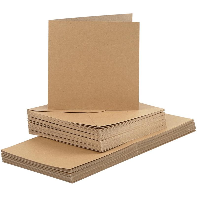 Kraft kaarten + enveloppen: 50 vierkante