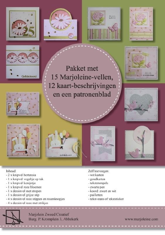 Roze pakket met 15 Marjoleine-vellen
