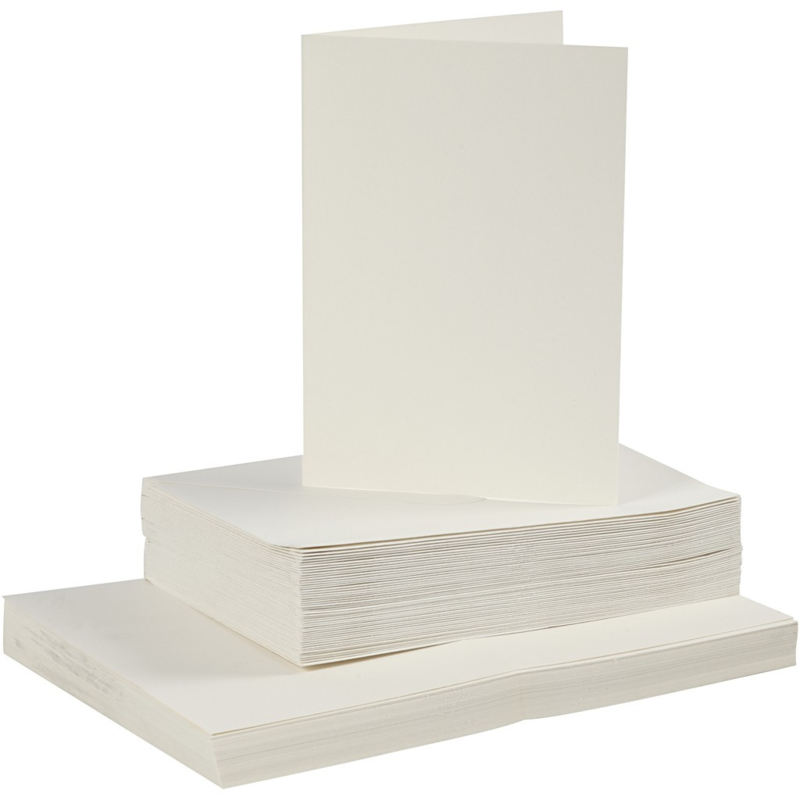 Off-white kaarten + enveloppen: 50 rechthoekige