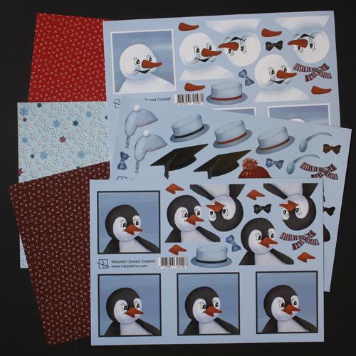 Pakket sneeuwpop en pinguïn