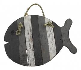 Houten vis onderzetter grijs