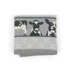 Handdoek koe grijs, biologish keukentextiel