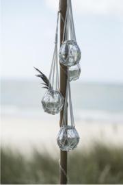 Glazen vaas in katoenen macramé touw, Ib laursen