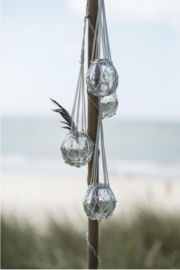 Ronde bolle  glazen vaas in katoenen macramé touw, Ib laursen