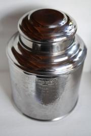 Theeblik rond, roestvrijstaal voor 100 gram thee