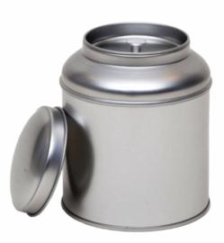 Theeblik  rond, met aroma deksel voor 150 a 200 gram thee