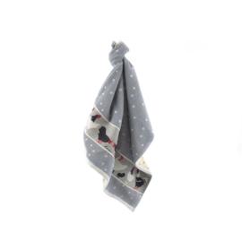 Handdoek kip grijs, biologish keukentextiel