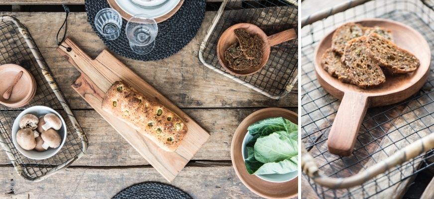 houten keukenplanken en keukengerei