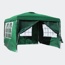 3x3m tent; paviljoen met verwijderbare zijpanelen, groen