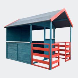 Kinderspeelhuis XL 146x195x156cm met woongedeelte en veranda in rood/blauw.