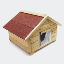 Klein kattenhuis; geïsoleerde kattenhut; weerbestendige kattenbak