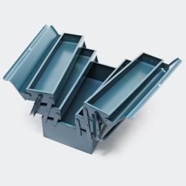 Gereedschapskist van koudgewalst staal, 5 compartimenten en handvat; klein.