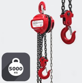 Kettingtakel tot 5000 kg, kettinglengte van 3m, hefhoogte: 3 meter.