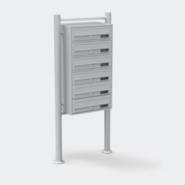 Meervoudige staande brievenbus ( hoog 6 stuks ) in zilver.