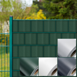 Privacy beschermingsstrips; hekfolie, grijs 35mx19cm van 450g / m² PVC incl. 20 clips