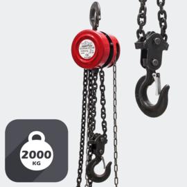 Kettingtakel tot 2000 kg met kettinglengte van 3 meter.