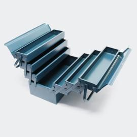 Gereedschapskist van koudgewalst staal, 7 compartimenten en handvat; klein.