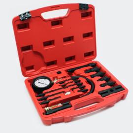 Compressietester voor dieselmotoren (TDI en CDI) 0-70 bar; geschikt voor auto's en vrachtwagens.