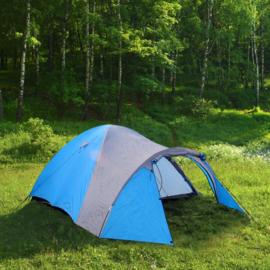 3-Persoons Iglo tent; blauw/grijs 210 x 120 x 130cm, Triple Tent.